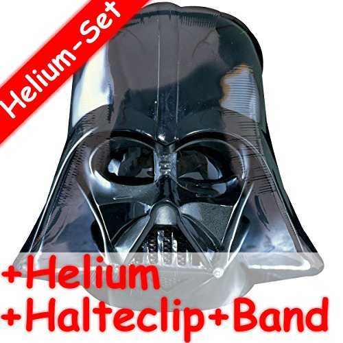 Folienballon Set * DARTH VADER HELM + HELIUM FÜLLUNG + HALTE CLIP + BAND * für Kindergeburtstag oder Motto-Party // SUPERSHAPE // Folien Ballon Helium Deko Ballongas Motto Star Wars