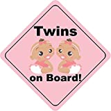 Twins On Board Girls Nipples Cute Funny Baby Hochwertigen Auto-Autoaufkleber 12 x 12 cm