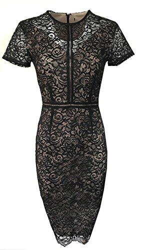 new-ms-black-gold-lace-bodycon-dress-marks-spencer-size-12