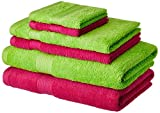 #8: Solimo 100% Cotton 6 Piece Towel Set, 500 GSM (Spring Green and Paradise Pink)