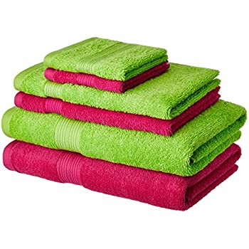 Amazon Brand - Solimo 100% Cotton 6 Piece Towel Set, 500 GSM (Spring Green and Paradise Pink)