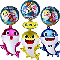 Baby Shark Balloons Party Supplies Shark Balloons for Baby Birthday Decorations Toys Children Reusable 18 inch large Baby Shark Balloons Shark Party Favors 6pcs (multi)