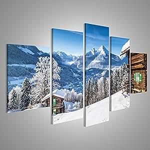 Regenbogen Bergwiese Berge Panorama Format Bild auf Leinwand Wandbild Poster