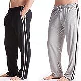 da uomo Lungo Abbigliamento Casual Pantaloni Abbigliamento da notte (confezione da 2) Pigiama Lungo Biancheria da notte - 1 x nero, 1 x grigio, Medium