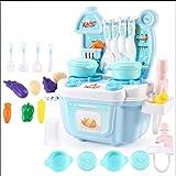 Xyanzi Kinderspielzeug Kinderspielzeug Für Die Küche Kochen Simulation-Ankleidespiele Mini-Küchen Play Food Kindergeschirr Geschirr Set Jungen Und Mädchen (16 Teile) (Farbe : Blau)
