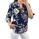 TEBAISE Mid Season Fashion Design Frauen Damen Reisen Datierung Bunte Blumendrucken Halbarm T-Shirt Unregelmäßige Tops Bluse Jumper(Marine1,EU-46/CN-XL)