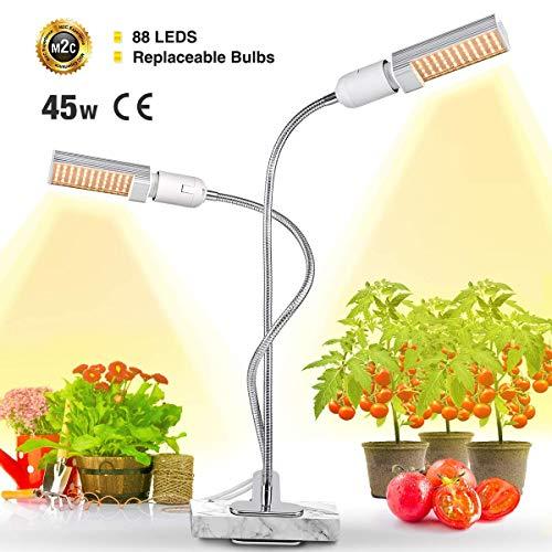 Bozily 45W LED Pflanzenlampe Vollesspektrum 88 Leds Pflanzenlicht mit Dualem Austauschbarem E27 Glühbirnen , für Wasserpflanzen, Blumen, Topf und Zimmerpflanzen, Gemüse, Wachstumslampe