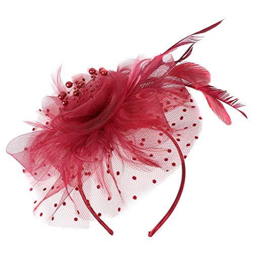 TOPGKD beliebt Flapper Great Gatsby Stirnband Pearl Charleston Party Braut Kopfschmuck YPIns umsatzstark(Weinrot) -