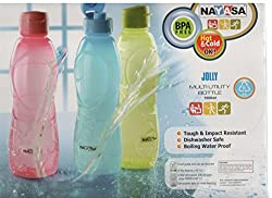 Nayasa Superplast Jolly DLX Plastic Water Bottle Set, 1 Litre, Set of 3, Multicolour