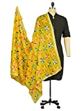 #10: Weavers Villa® Punjabi Hand Embroidery Phulkari Buty Work Dupatta (YELLOW)