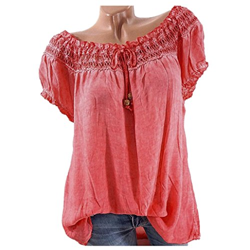VJGOAL Women Summer Lace Flower Sleeve Cotton Cold Off Shoulder Stitching Slash Neck Blouse Top T Shirt