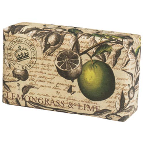 Kew Gardens Seifemit Vintage-Verpackung -Badseife mit luxuriösem Duft-Lemongrass & Lime, 240g -