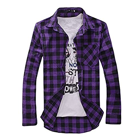 Men Plaid Shirt Long Sleeve Check Casual Fashion Top Blouse