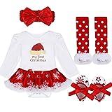 YiZYiF 2tlg. / 4tlg. Baby Mädchen Kleid Weihnachten Bekleidung Set Strampler Tütü Bodys + Kopfband 0-18 Monate (3-6 Monate, 8 Weihnachtsmütze)