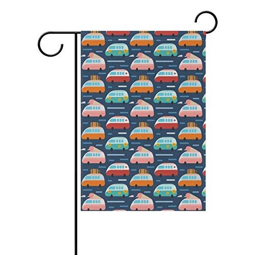 MUMIMI Bandera de poliéster con diseño de autobús hippie, 30 x 45 c