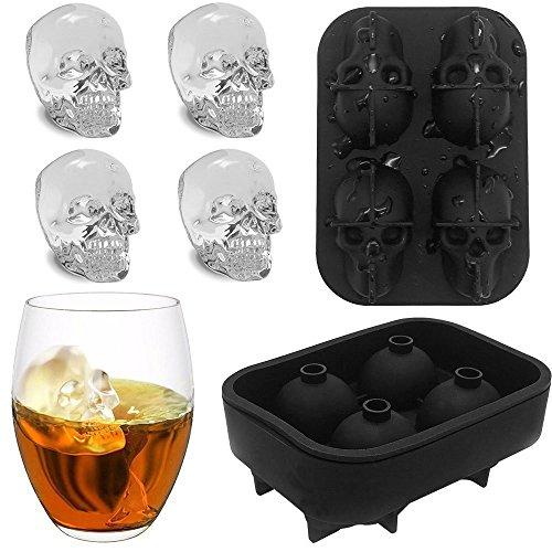 3D Skull Shape Eisformen,4 Vivid Skulls, Lebensmittelqualität Silikon Eiswürfel mit Deckel für Whisky, Cocktails, Saft und Jedes Getränk (Eiswürfelschale, Schwarz)