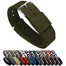 "Barton, cinturino per orologio, in nylon balistico (18 / 20 / 22 / 24 mm), unisex, Army Green, 22mm - Long (11"")"
