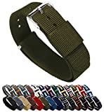 Bracelets de montre Barton- Bandes en nylon balistique, mixte, vert militaire, 22mm - Long (11')