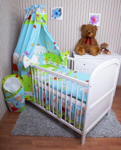 Amilian® Baby Bettwäsche 5tlg Bettset mit Nestchen Kinderbettwäsche Himmel 100x135cm NEU Schaf Türkis Vollstoffhimmel