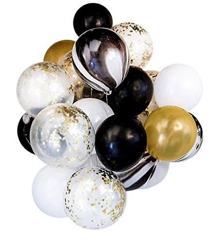 Shanke Globos de Fiesta para Decoraciones Cumpleaños, Bodas, Navidad, Reunión Ceremonia, 50pcs de Color Negro, Blanco y Oro
