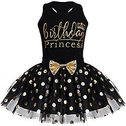 inhzoy Vestido de Bautizo Fiesta Bebé Niña Conjunto 2Pcs Tops de Algodón + Tutú Falda de Lunares Vestido de Princesa para Cumpleaños Ceremonia para Niña Negro 5-6 Años