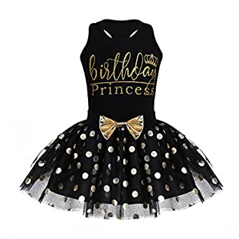 CHICTRY Toddler Little Girls Fancy Sequin Polka Dots Birthday Outfit Racer-Back Shirt with Mesh Tutu Skirt Set Black 2-3 Years