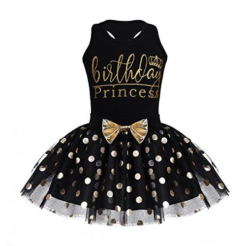 Tiaobug Baby Mädchen Prinzessin Kleid festlich Partykleid Festzug Kleidung Halloween Kostüm Geburtstag Outfit Gr. 80-116 Schwarz 104-110/4-5 Jahre