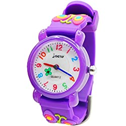 JNEW - Reloj de Cuarzo para Niñas con Dibujo de Mariposa Butterfly Watchband Reloj para Niñas Analógico Deportivo Cute Resistente al Agua - Morado