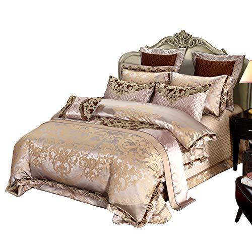 KE & LE Zuhause 8 stück Tröster Jacquard Scroll Faux Seide Bettwäsche-Sets Ausgefallene Kollektion Spitze Getrimmt Elastische Bett wrap Klassisch Bettwaren-A Queen2 -