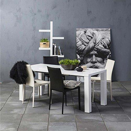 AC Design Furniture h000010603Zidan Tisch Holz weiß glänzend 120x 80x 76cm