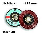 10 Stück DKB-Tools-Germany Fächerscheiben Ø 125mm Schleifscheiben für Stahl Holz Braun Schleifmoppteller (Korn 40)