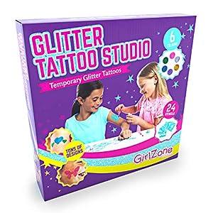 GirlZone Regalos para Niñas -Tatuajes Purpurina -Kit De Tatuajes Temporales con Brillantina para Niñas -Tatuajes Temporales -Tattoos con Purpurina 3 a 12 años