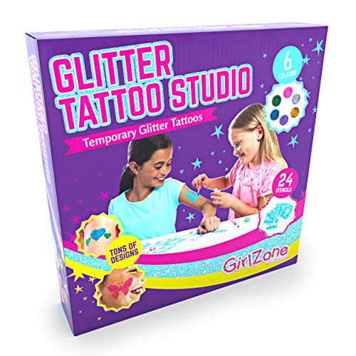 GirlZone Regalos para Niñas |Tatuajes Purpurina |Kit De Tatuajes Temporales con Brillantina para Niñas |Tatuajes Temporales |Tattoos con Purpurina 3 a 12 años