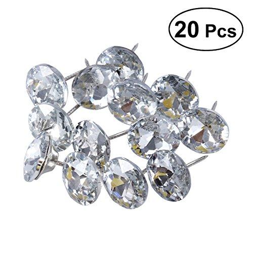 rosenice 25mm Nähen Knöpfe Belgischer Glas Diamanten-Nägel Wand Dekor Sofa 20UNIDs