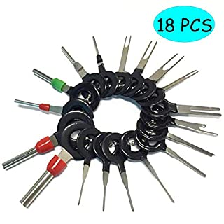 Kalolary Terminal Removal Tools Entriegelungswerkzeug Set Auto Elektrische Kabel Verdrahtung Crimp Stecker Pin Extractor Kit Auto Reparatur Handwerkzeug Set steckschlüssel-11 Teile/Satz(18 PCS)