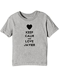 Erido Keep Calm and Love Javier Niños Unisexo Niño Niña Camiseta Cuello Redondo Gris Manga Corta