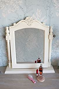 Pretty Casamore Devon Shabby Chic Cream Painted Dressing Table Swivel Mirror with Stand - FREE DELIVERY
