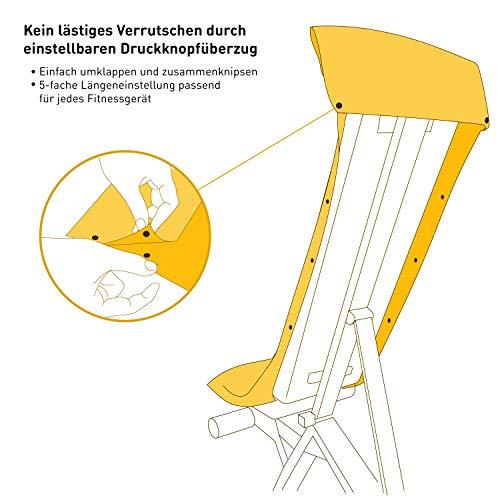 3-tlg Fitness-Handtuch Set mit Reißverschluss Fach + Magnetclip + extra Sporthandtuch   zum Patent angemeldetes Multifunktionshandtuch, Fit-Flip Microfaser Handtuch (gelb) - 3