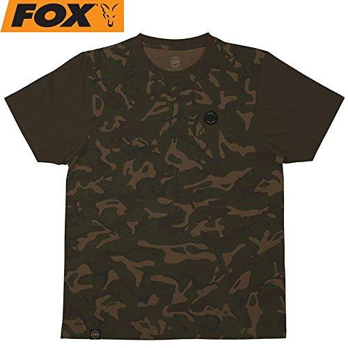 Fox Camo Dark Khaki Edition T-Shirt - Anglershirt für Angler, Shirt für Karpfenangler & Wallerangler, Angelshirt, Tshirt, Größe:XL -