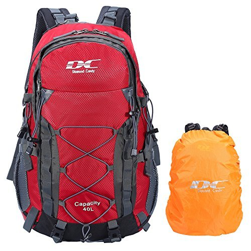 Diamond candy zaino da trekking outdoor donna e uomo con protezione impermeabile per alpinismo arrampicata equitazione ad alta capacità borsa da viaggio,multifunzione, 40 litri, rosso + + una copertura di zaino