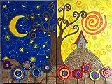 Cuadro árbol de la vida, Pinturas de arboles, Noche y Dia diptico (2 lienzos de 60x40cm)