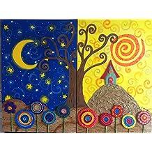 Cuadro árbol de la vida, Pinturas de arboles, Noche y Dia diptico (2
