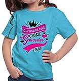 HARIZ  Mädchen T-Shirt Ich Werde Eine Große Schwester 2019 Große Schwester Geburtstag Bruder Weihnachten Plus Geschenkkarte Azur Blau 140/9-11 Jahre