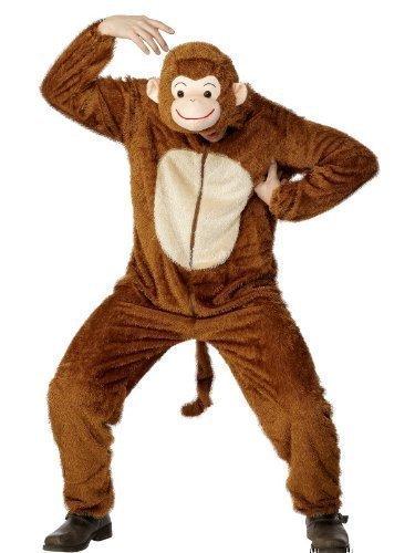 er Herren Zoo Dschungel Tier Jumpsuit Jungesellen Halloween Verkleidung Outfit - Braun, L / 107-112cm (Zoo Tier Halloween-kostüme)