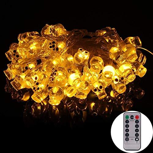 (Echosari [Remote & Timer] 5m batteriebetriebene Halloween String Licht mit 50 LED Totenköpfen, 8 Modi dimmbar (Warmweiß))