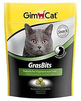 GimCat GrasBits - Friandises pour chat, à base d'herbe à chat - Sans sucre ajouté - Riche en fibres et en vitamines - Sachet de 140 g