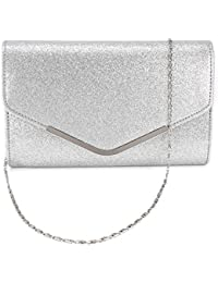 Anladia Sac a main besace chaine Femme Pochette Glitter soiree mariee mariage