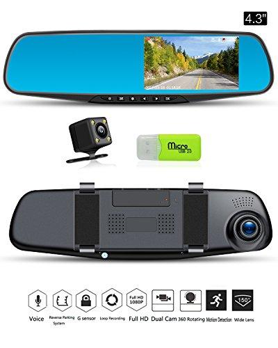 Cámara de coche Dash Cam espejo retrovisor coche Video 1080P coche grabadora de conducción Espejo Cámara Doble Lente Vehículo Coche de la cámara DVR con G-sensor detección de movimiento Grabación en bucle modo de aparcamiento Cargador de coche con un puerto USB