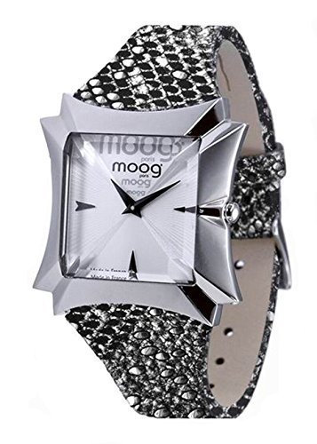 Moog Paris Vendôme Montre Femme avec Cadran Argenté, Bracelet Noir et Argenté en Cuir Véritable - M45402-013