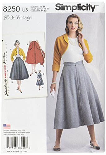 Simplicity Vintage Simplicity Schnittmuster 8250 Damenrock und Bolero, 1950er-Jahre-Stil, Gr. U5 (40-48) - Vintage-muster-bolero